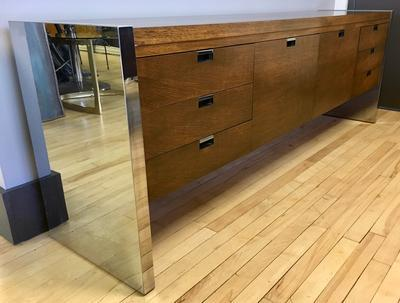 Executive Credenza with Chrome finish by Roger Sprunger for Dunbar