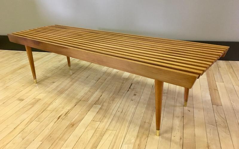 Wood Slat Coffee Table Bench   Danish Modern