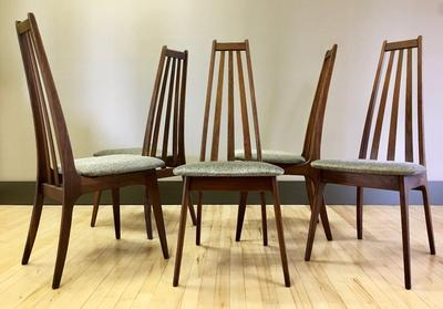 Pearsall Style Walnut High-back Dining Chairs