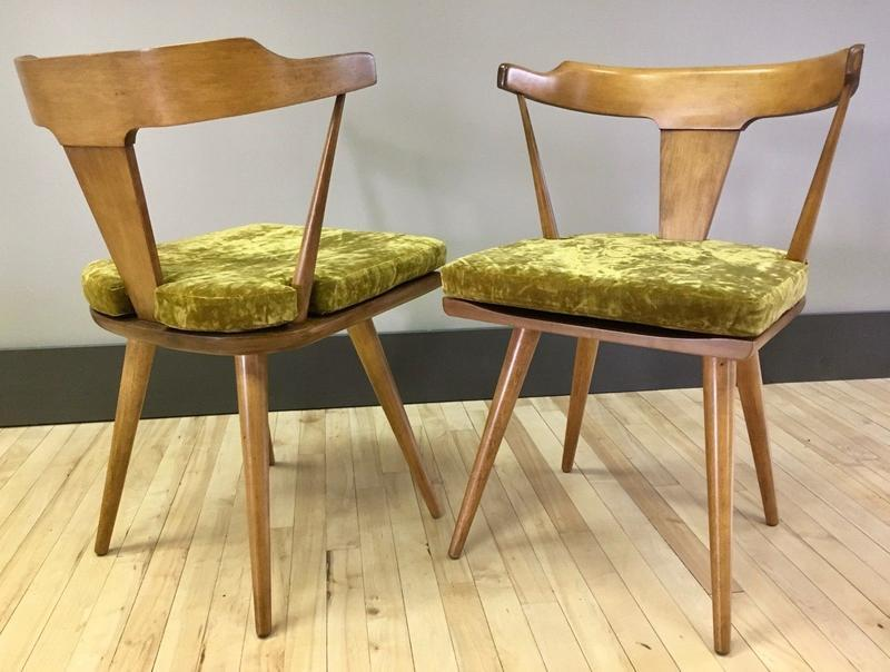Pair Of Paul Mccobb Maple Dining Chairs W Cushions Vintage Mcm Dining Chairs Benches Sweet Modern Akron Oh