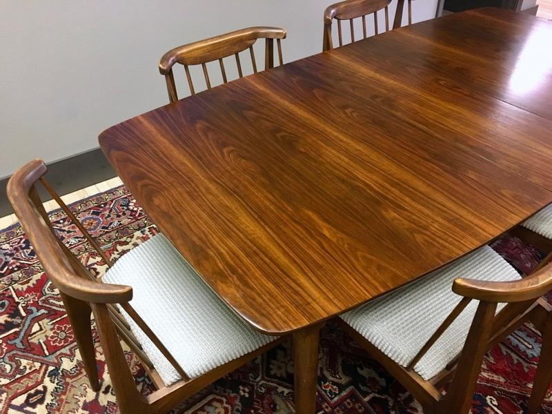 Walnut Dining Table 6 Chairs Midcentury Modern Dining Room Sets Sweet Modern Akron Oh