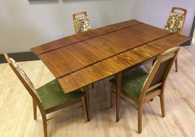 Rosewood Inlay Dining Room Drop-Leaf Table - MCM - Sweet Modern