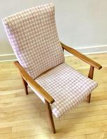 Teak Danish Style Chair with New Pink Fabric