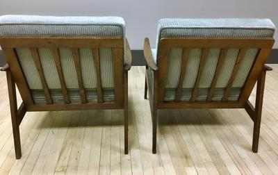 Pair of reupholstered Danish style Lounge Chairs