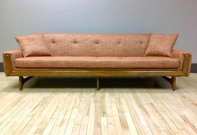 vintage Pearsall style Sofa with knoll fabric