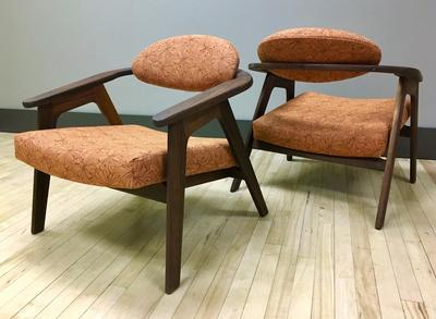 916CC Adrian Pearsall Lounge Chairs Reupholstered