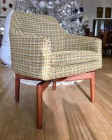 Rare Jens Risom Chair - Accent Chair with Walnut Spider Side