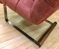 Italian Slipper Chair - Reupholstered with walnut trim and chrome legs bottom