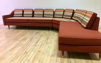 red sectional sofa with reupholstered cushions