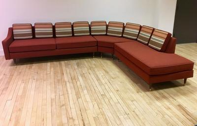 Vintage Red Sectional Sofa that has been reupholstered