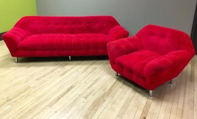 Red Gondola Sofa and Chair with shag texture