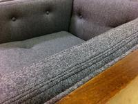 Closeup of Wool Fabric on Rosewood Mid Century Case Chair