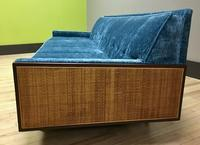 Reupholstered 1950s sofa in teal with wooden sides
