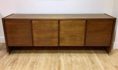 Walnut Credenza with Chrome Accents