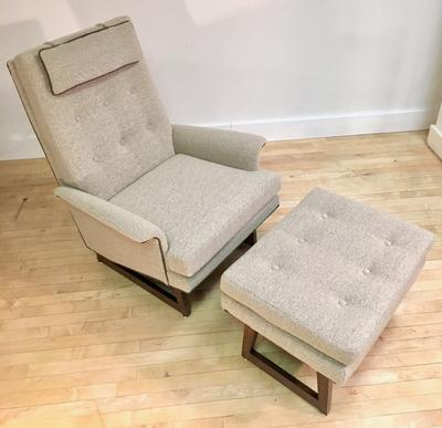 Chair and Ottoman with Walnut Legs