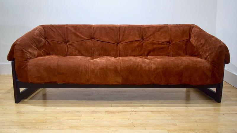 Percival Lafer Rosewood Sofa Couch w/ New Leather Suede ...