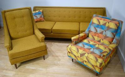 1950s Living Room Set in Gold