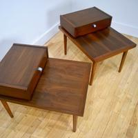 American of Martinsville Walnut End Side Tables Pair top