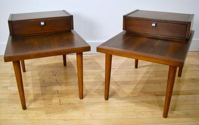 American of Martinsville Walnut End Side Tables Pair