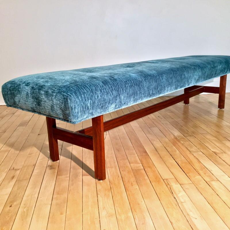 Astonishing Vintage Upholstered 6Ft Bench W New Teal Velvet Fabric Mcm Pabps2019 Chair Design Images Pabps2019Com