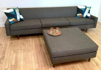 Gray Sofa with Ottoman