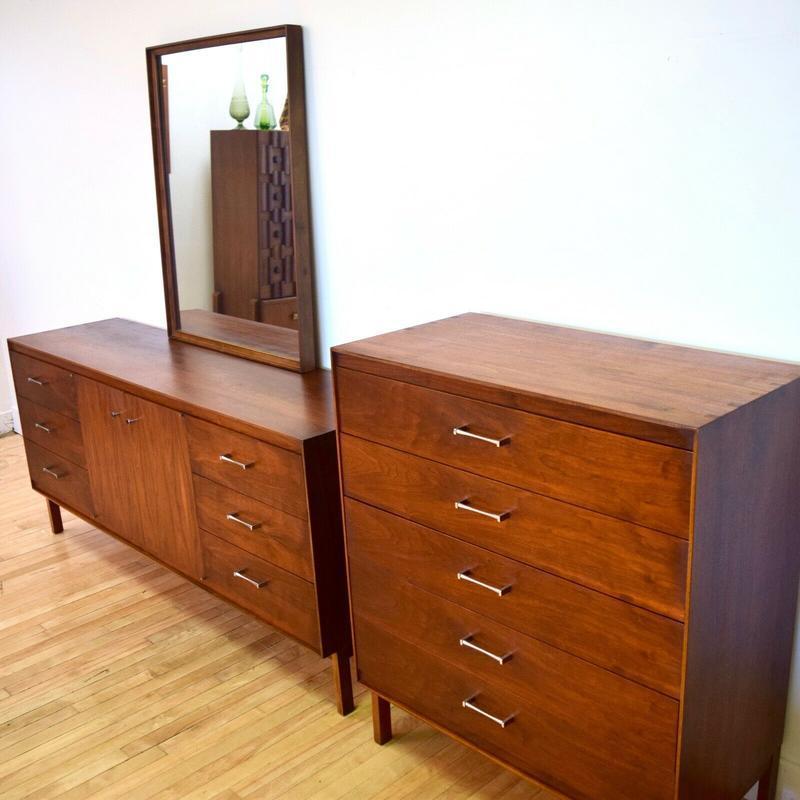 Paul Mccobb Bedroom Set Dresser Highboy Mirror Mid Century