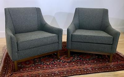 Pair of Vintage MCM Chairs w/ New Grey Upholstery