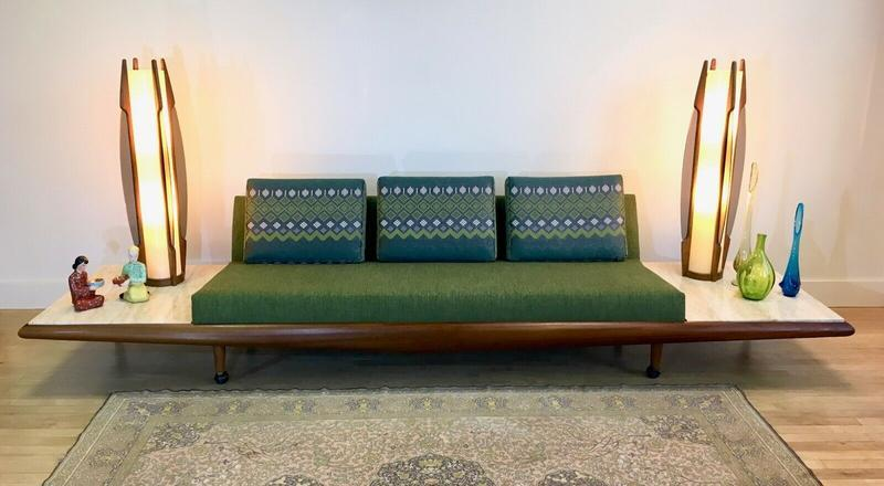 Sofa Couch W Travertine Side Tables