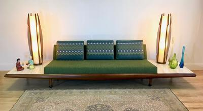 Adrian Pearsall Sofa Couch w/ Travertine Side Tables
