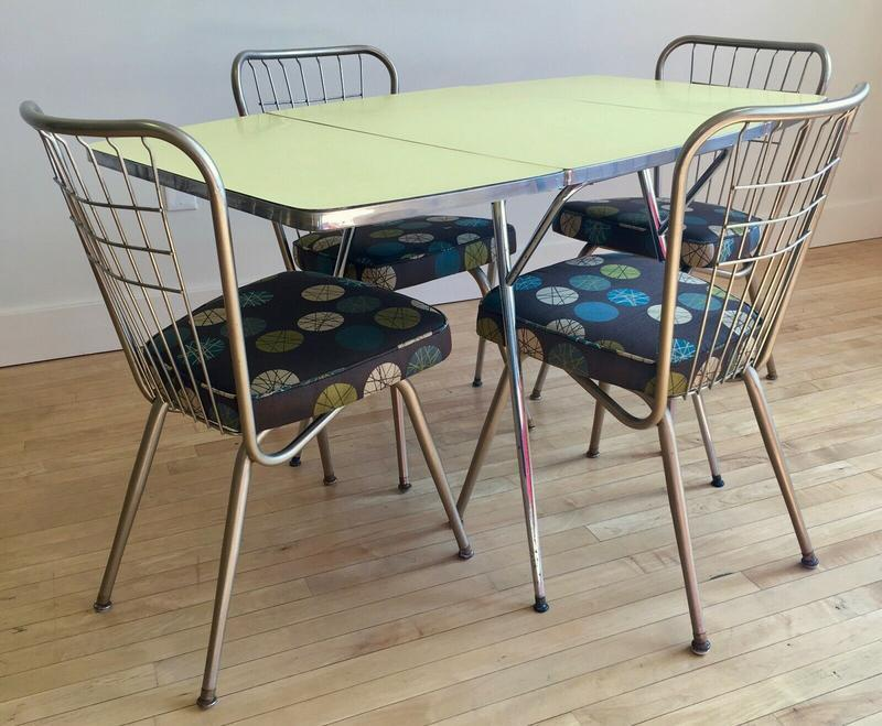 1950s Chrome Kitchen Dining Set Table 4 Chairs Retro Mid Century Modern Mcm Midcentury Modern Dining Room Sets Sweet Modern Akron Oh