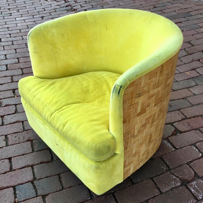 Cane Backed Swivel Barrel Chair By Milo, Modern Swivel Bucket Chairs