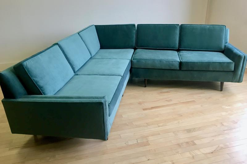 mid century sectional sofa in teal
