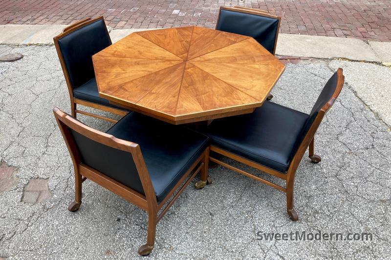 Amazing Walnut Game Table 4 Low Chairs Midcentury Modern Dining Room Sets Sweet Modern Akron Oh